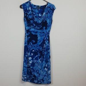 Lauren Ralph Lauren Blue floral cowl neck dress